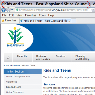 Screenshot showing